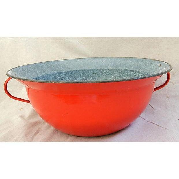 Image of Jumbo Red European Enamelware Harvest Bowl