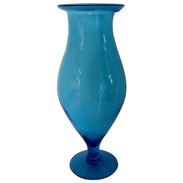 Blenko Turquoise Goblet Vase - Image 1 of 5