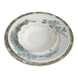 Vintage China Green Place Setting - Set of 3