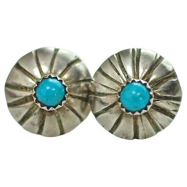 Image of Native American Sterling & Turquoise Stud Earrings