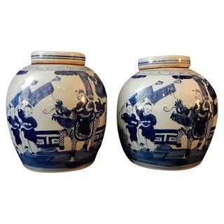 Blue & White Hundred Boys Jars, Pr