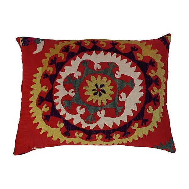 Mid-Century Embroidered Suzani Pillow Chairish