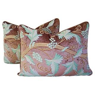 Scrolling Grapevine Crewel & Velvet Pillows - A Pair