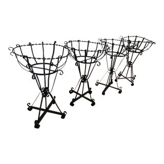 Mid-Century Wrought Iron Basket Planters - Set of 4