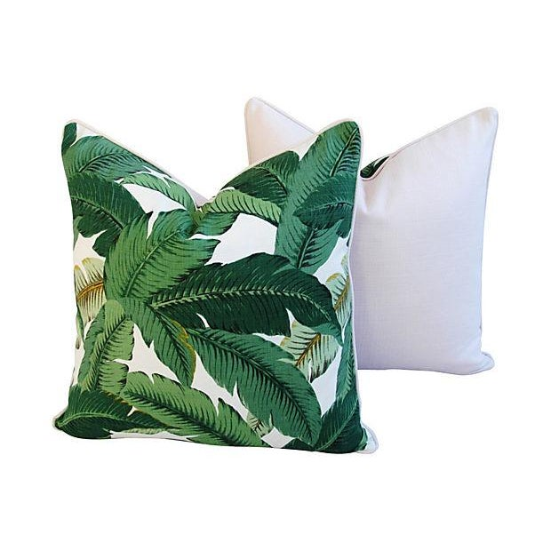 Large Tropical Iconic Banana Leaf Feather/Down Pillows - a Pair - Image 4 of 7