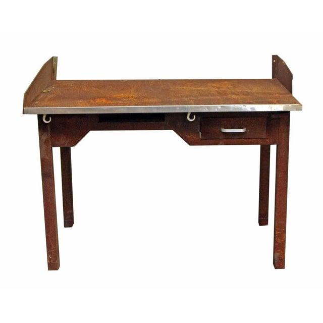 Rusted Metal Industrial Desk - Image 2 of 9
