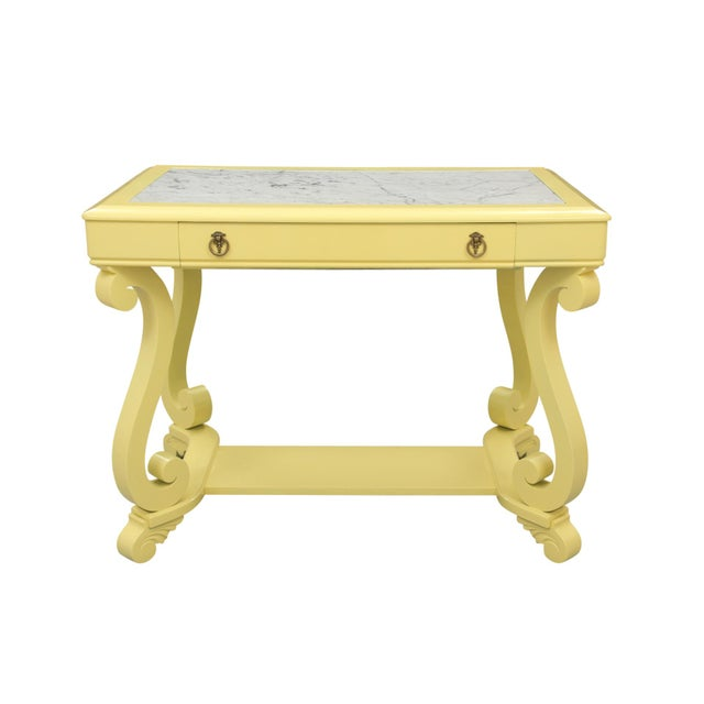 Neoclassical Style Yellow Marble Top Hall Table - Image 10 of 10