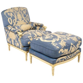 Louis XVI Style Antique French Blue and Cream Bergère
