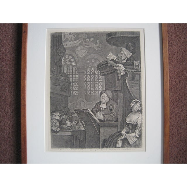"""Image of Hogarth 1804 """"The Sleeping Congregation"""" Etching"""
