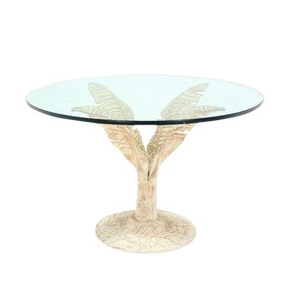 Painted Cast Aluminum Banana Leaf Base Center Table 3/4 Inch Thick Round Glass