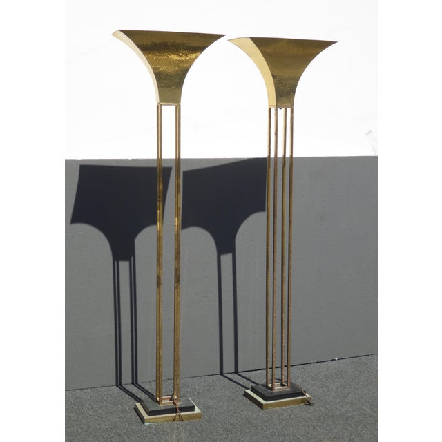 Mid-Century Art Deco Brass Plated Torchiere Floor Lamps - a Pair - Image 3 of 11