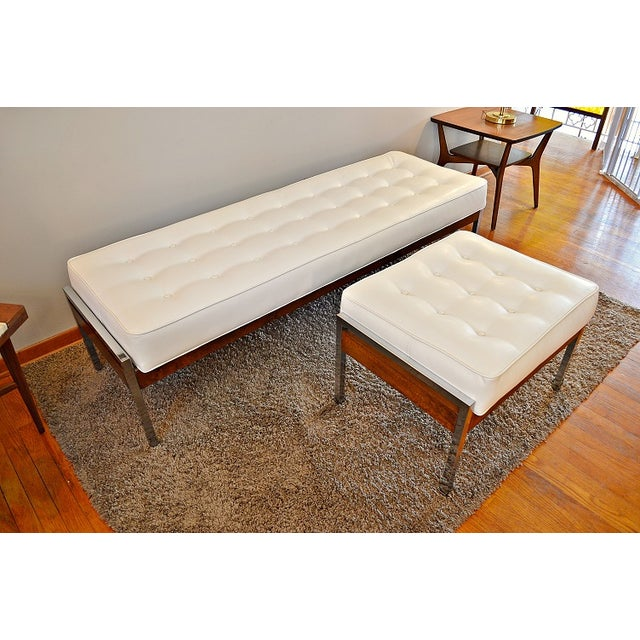 1970s Milo Baughman Style Tufted Chrome Bench - Image 4 of 7