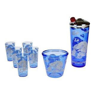 """Art Deco Hazel Atlas Ritz Blue Windmill """"Sportsman"""" Cocktail Shaker Glass Set"""