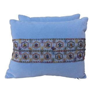 Sky Blue Silk Velvet Pillows w/ Lace Appliques - Pair