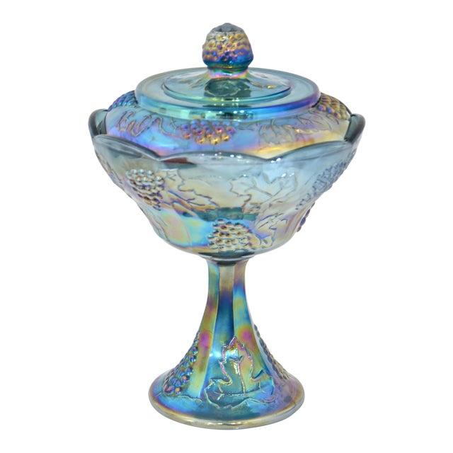 Peacock Blue Pedestal Bowl - Image 1 of 4