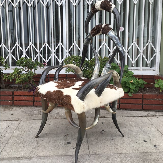 Rare Vintage Cowhide Horn Chair - Image 2 of 4