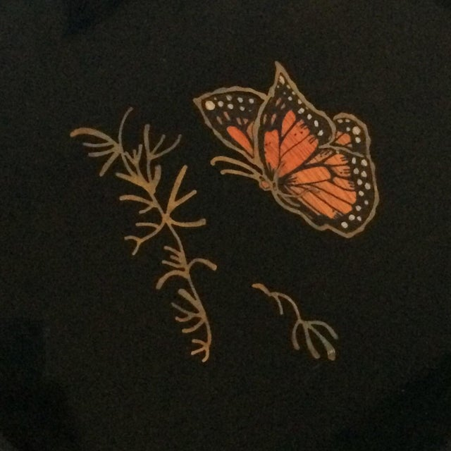 Couroc Vintage Black Butterfly Tray - Image 3 of 7