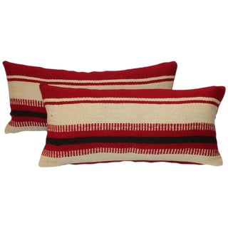 Pair of Mexican Indian Weaving Striped Bolster Pillows