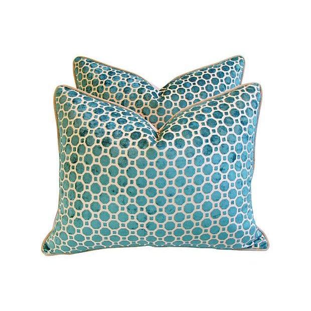 Turquoise Velvet Geometric Pillows- A Pair - Image 1 of 7