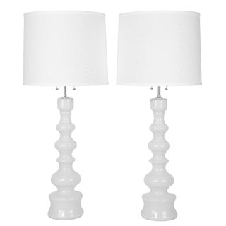 Tall white glass table lamps by Lindshammar studio of Sweden, circa 1960s