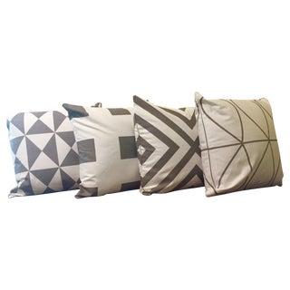 Gray & White Geometric Pillows - Set of 4