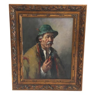 "H. Horvath ""The Man With The Pipe"" Hungarian Painting"