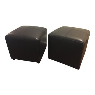 Leather Cubed Ottomans - A Pair