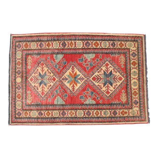 Hand Knotted Caucasian Style Area Rug - 3′2″ × 4′8″