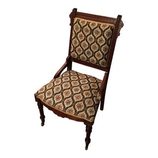 Antique Mahogany Tapestry Parlor Chair