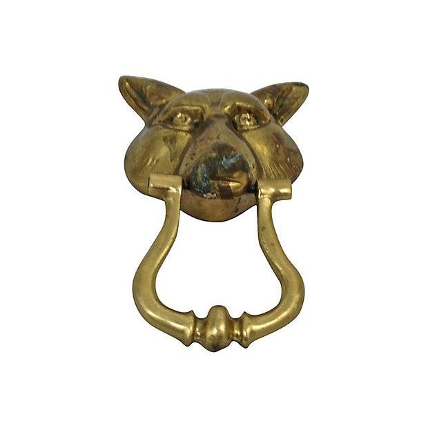 Image of Brass Wolf Head Door Knocker
