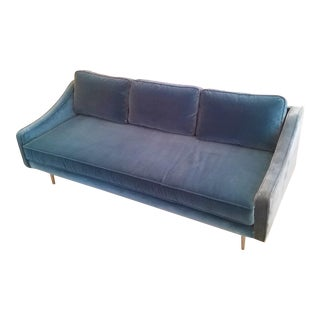 Teal Velvet Slope Arm Sofa