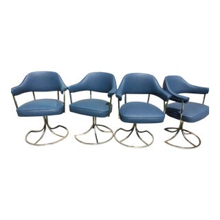 Blue Upholstered Captains Chairs - Set of 4