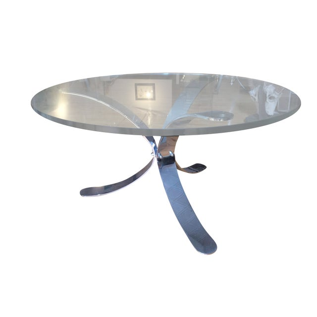 Chrome Base Circle Glass Top Coffee Table - Image 1 of 11
