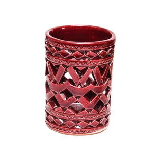 Moroccan Hand Painted Burgundy Ceramic Tealight Holder