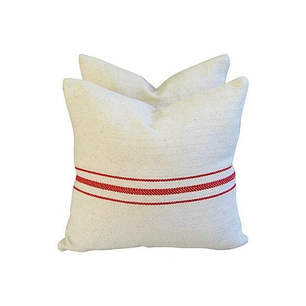 Custom French Red Striped Textile Pillows - A Pair - Image 2 of 6
