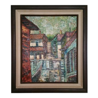 Mid-Century Impressionist Cityscape Oil Painting