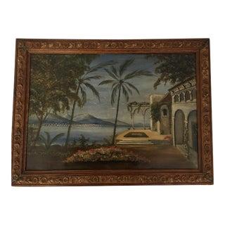 Framed Mediterranean Landscape Painting