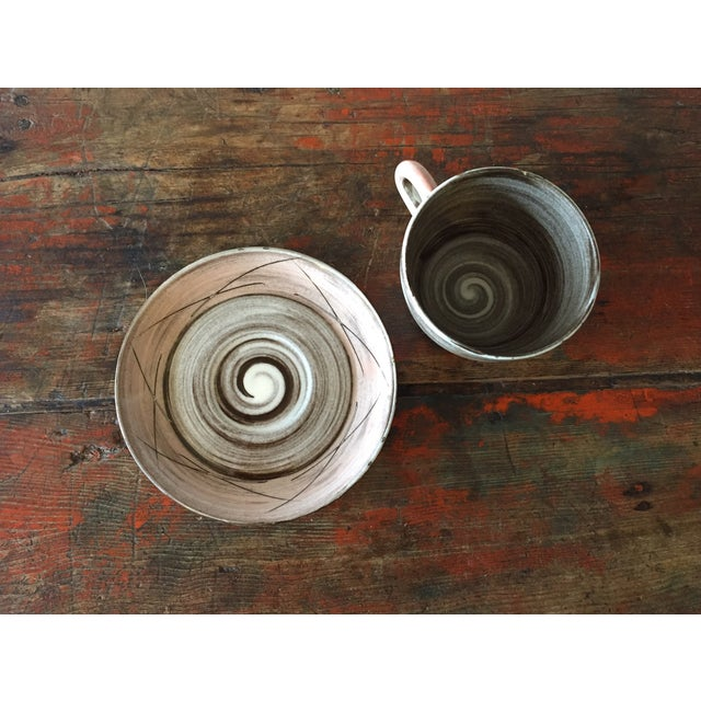 Stylized Spiral Tea Cup & Saucer - Image 4 of 9