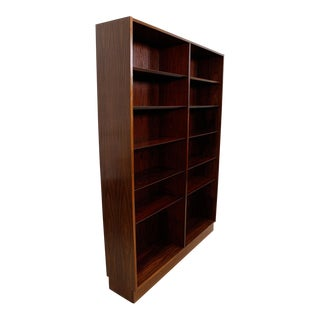 Danish Modern Double Bookcase With Adjustable Shelves in Rosewood