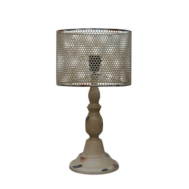 Rustic Cream Metal Hole Punched Table Lamp - Image 1 of 5