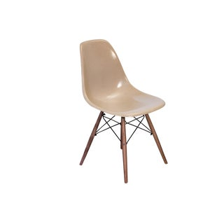Eames Fiberglass Greige Shell Chairs on Walnut Dowel Base