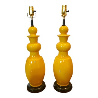 Vintage Yellow Ceramic Lamps - A Pair