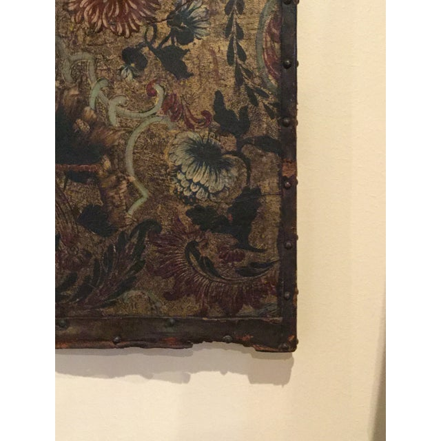 Antique French Handpainted Leather Screen Panel - Image 4 of 6