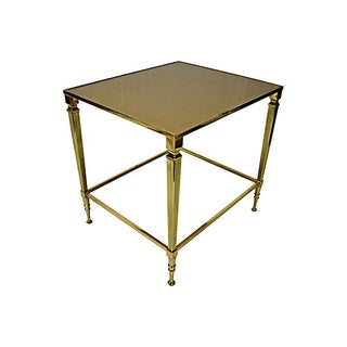Neoclassical Brass & Glass Auxiliary Side Table