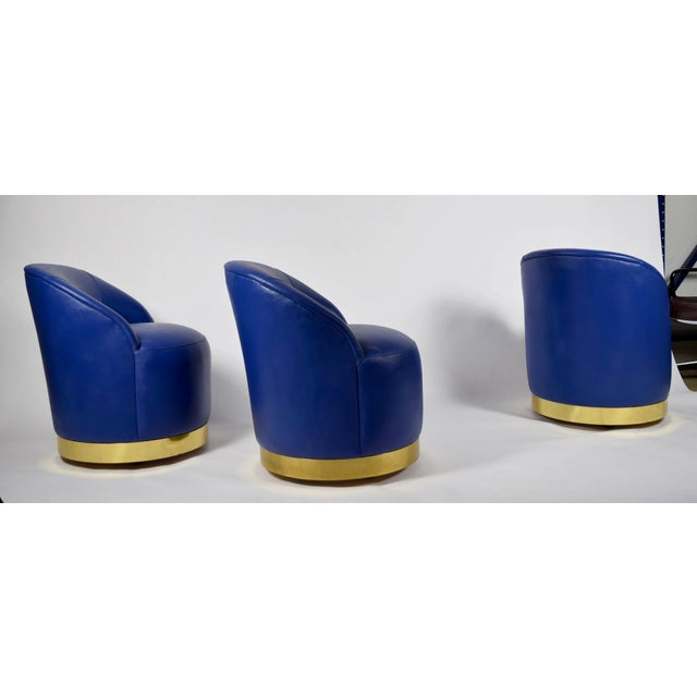 Karl Springer Style Chairs in Blue Leather with Brass Finish Base on Casters - Image 2 of 7
