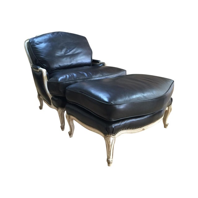Image of Louis XV Bergere Leather Chair & Ottoman