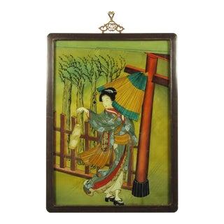 Japanese Geisha Eglomise Glass Painting