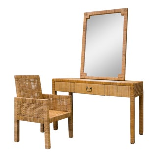 Vintage Woven Cane Parsons Desk or Vanity and Chair and Mirror Set - 3 Pc.