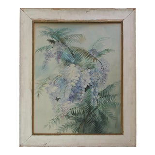 Large Original Vintage Watercolor Painting of Wisteria