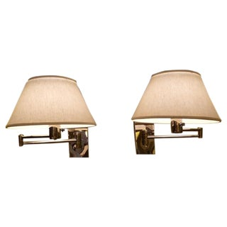 PAIR Nessen Chrome Swing Arm Wall Lights